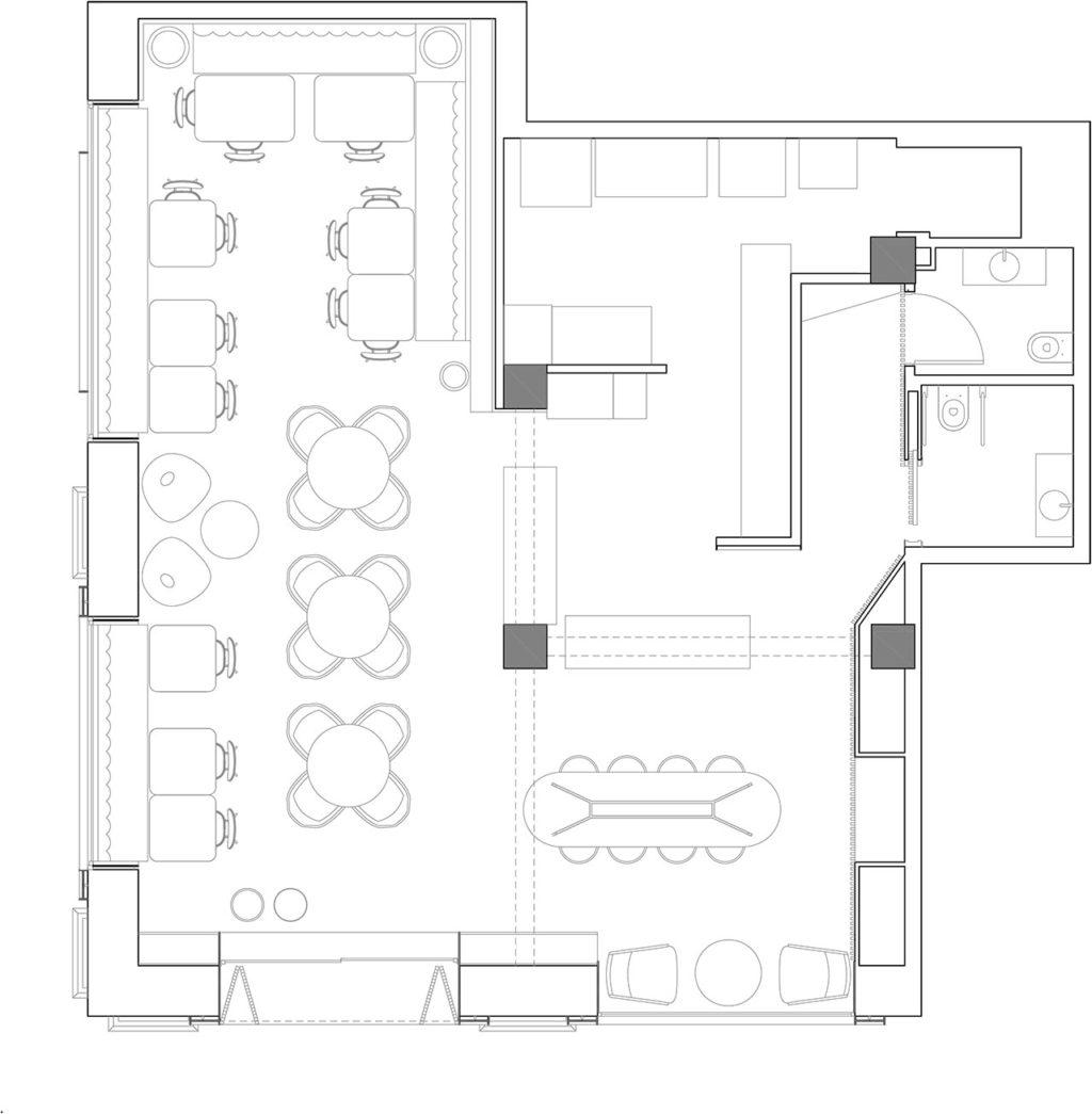 Planos proyecto de interiorismo y decoración para restaurante de cocina internacional