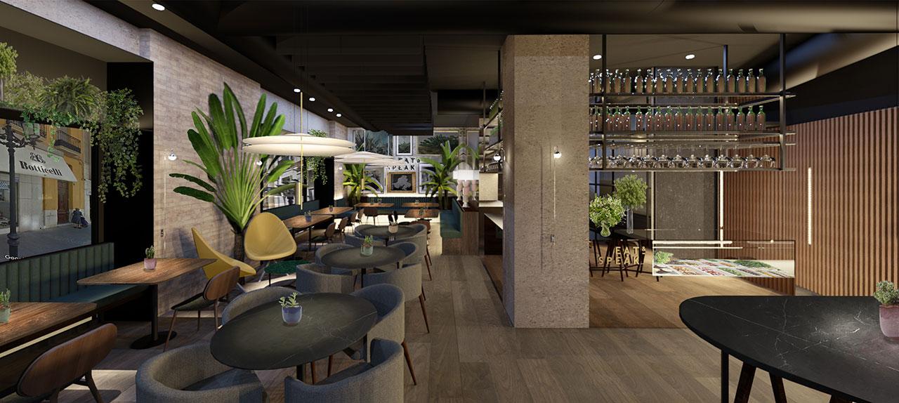 Render proyecto de interiorismo y decoración para restaurante de cocina internacional