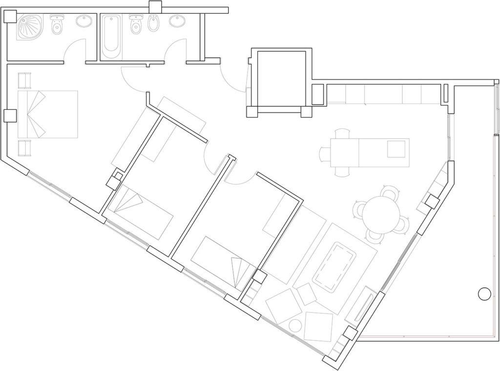 Planos de reforma de vivienda de estilo moderno con cocina americana