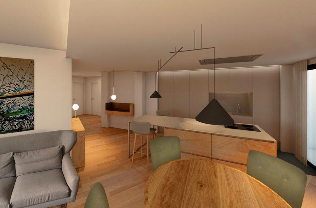 Renders de reforma de vivienda de estilo moderno con cocina americana