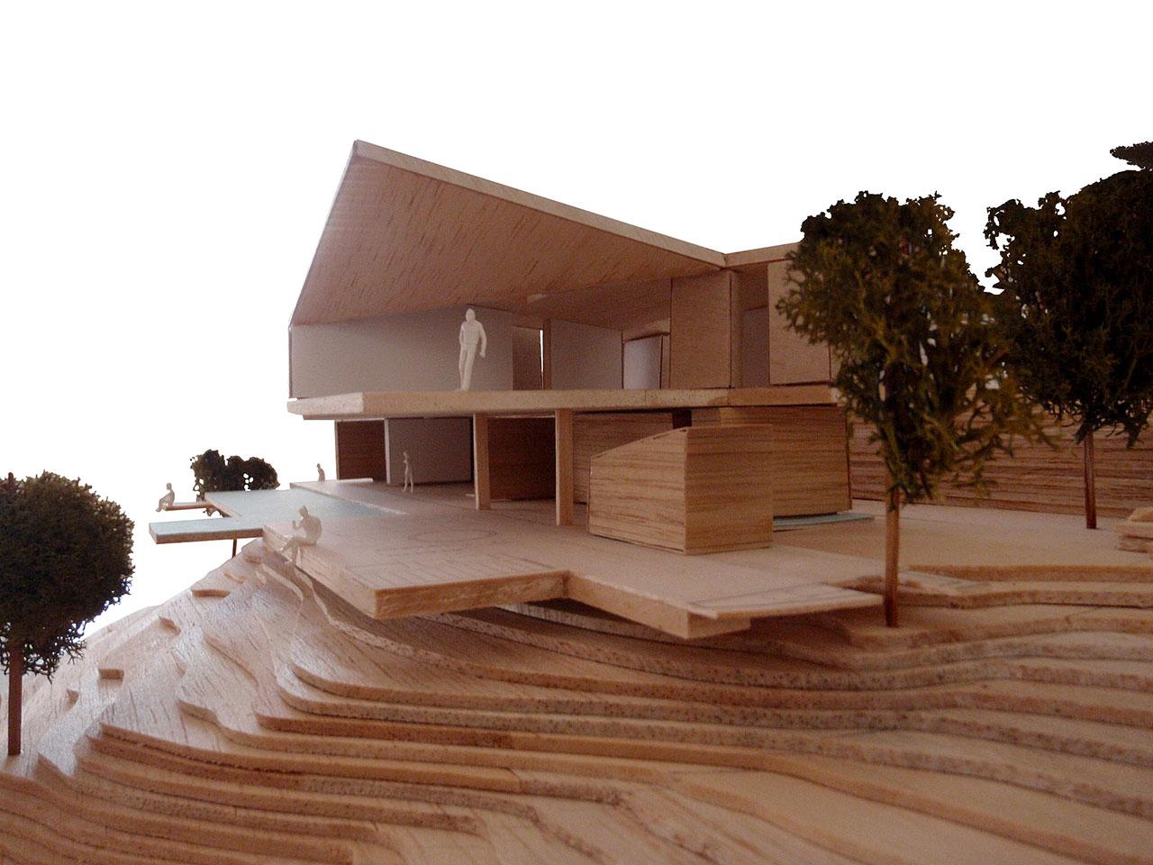 Maqueta de vivienda unifamiliar con vistas al mar y a la montaña de Benidorm