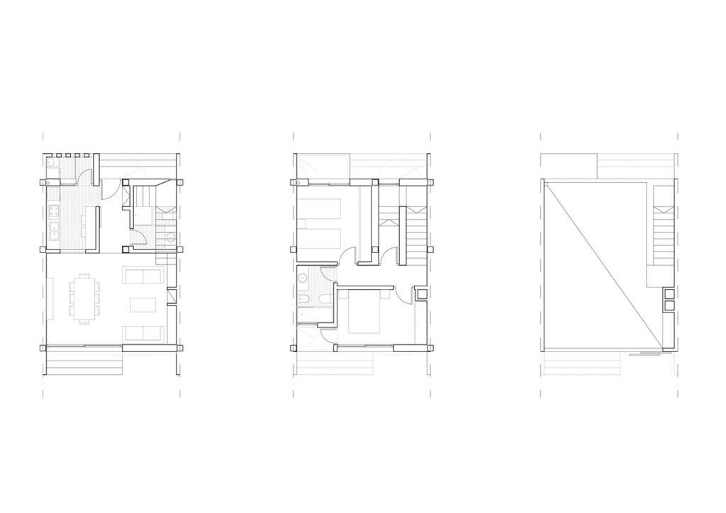 Plano de edificio de viviendas integradas con el entorno