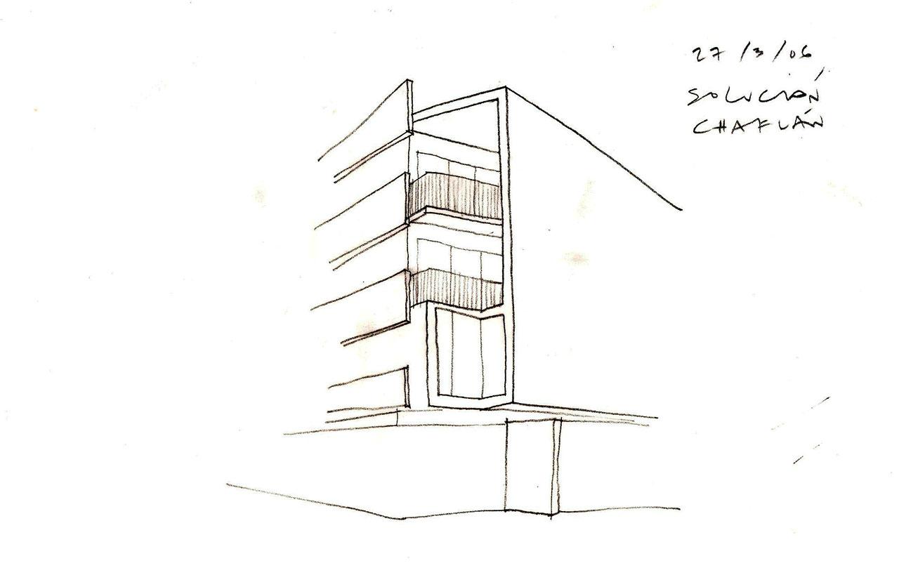 Boceto de proyecto de construcción de edificio viviendas con fachadas a dos orientaciones