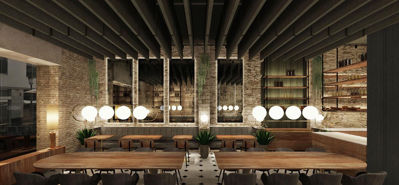 Proyecto de interiorismo de estilo clásico-contemporáneo italiano. Restaurante Sale&Pepe.