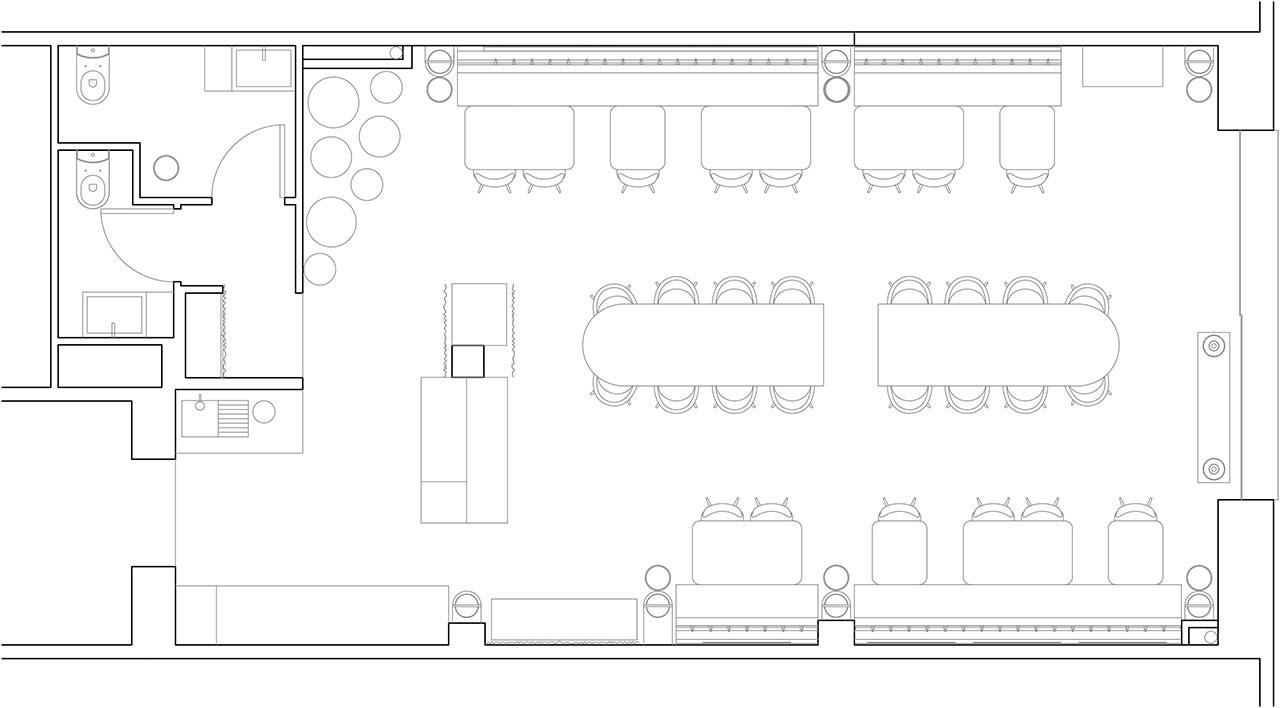 Plano reformado proyecto de interiorismo de estilo clásico-contemporáneo italiano. Restaurante Sale&Pepe.