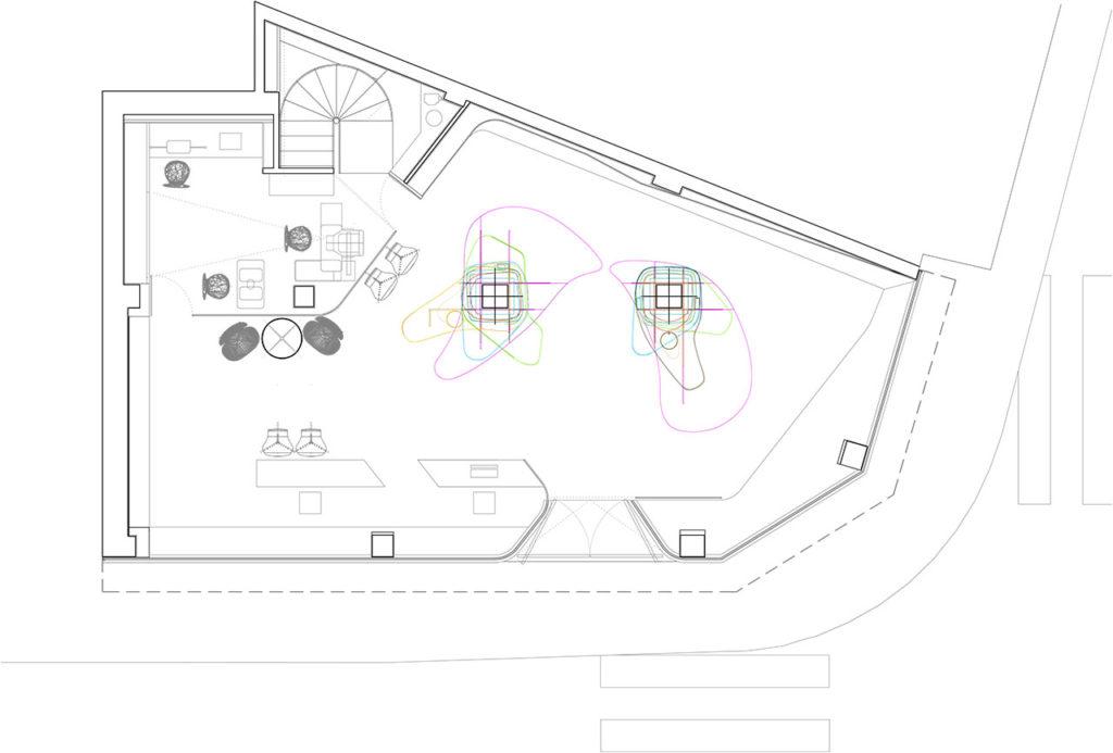 Plano de planta de reforma proyecto retail con estilo neoyorkino para óptica Sojo
