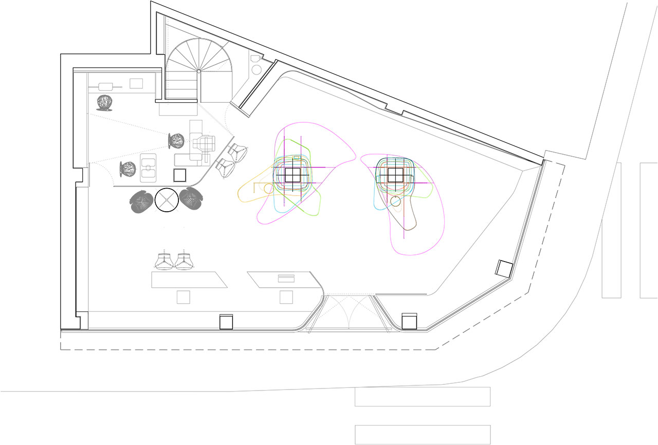 Plano de planta de reforma proyecto retail con estilo neoyorkino para óptica Sojo. Foto estado previo