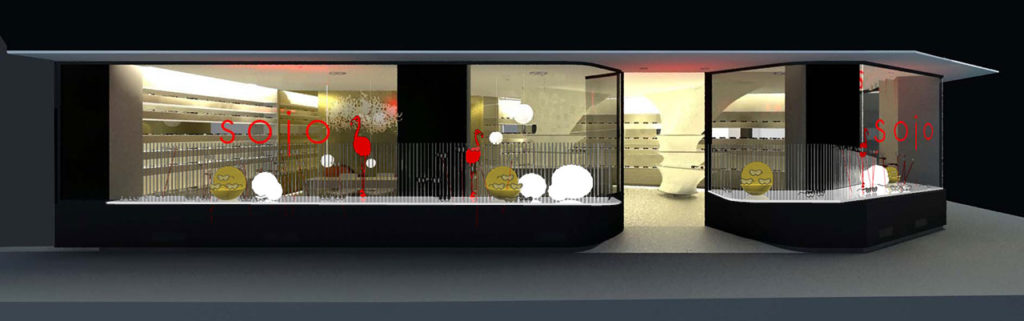 Reforma proyecto retail con estilo neoyorkino para óptica Sojo. Render