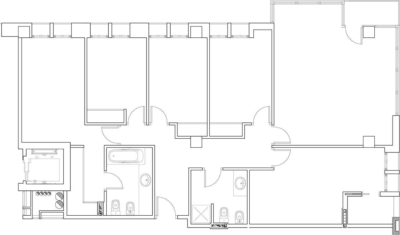 Reforma de vivienda con redistribución de espacios y decoración con materiales nobles y colores cálidos. Plano técnico de estado previo
