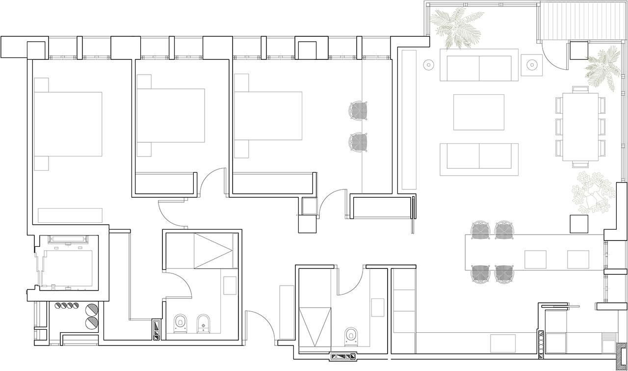 Reforma de vivienda con redistribución de espacios y decoración con materiales nobles y colores cálidos. Plano técnico de estado reformado