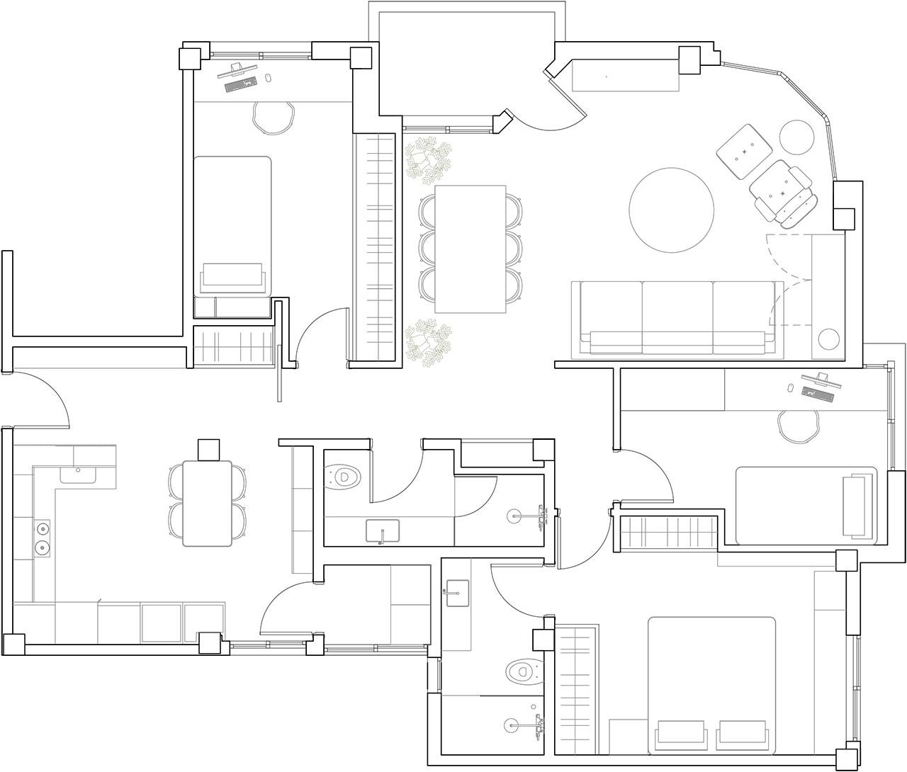 Planos técnicos para reforma de vivienda familiar con redistribución de espacios ganando en amplitud y luminosidad