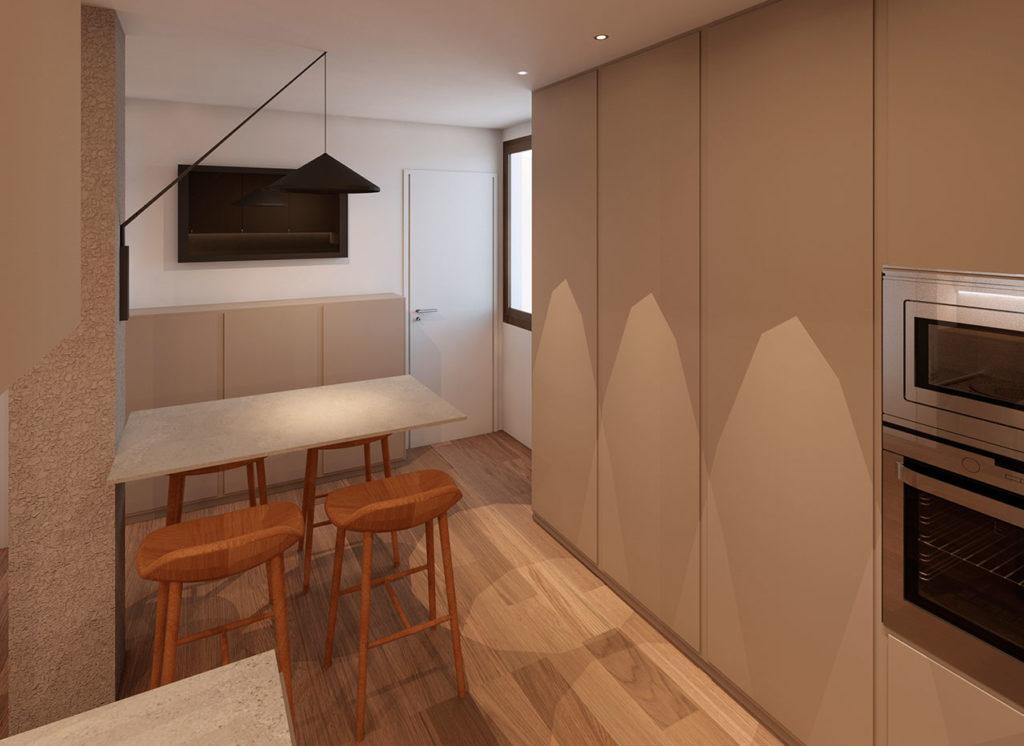 Render para reforma de vivienda familiar con redistribución de espacios ganando en amplitud y luminosidad