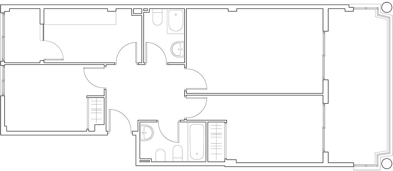 Plano de estado previo en reforma de vivienda en salón, comedor y cocina para conseguir iluminación natural