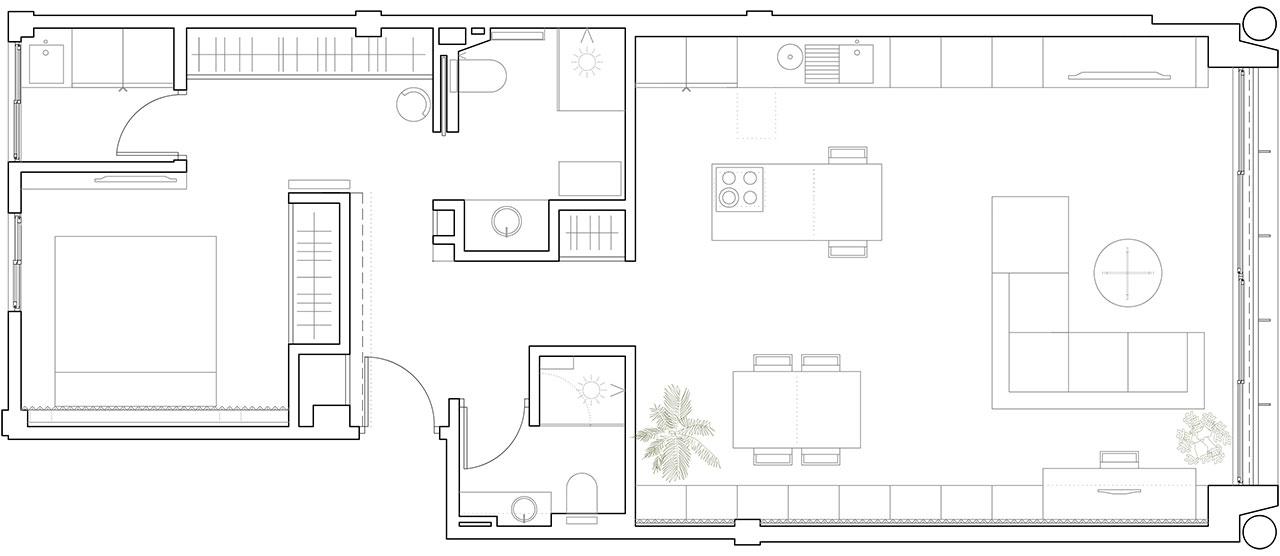 Plano reformado en reforma de vivienda en salón, comedor y cocina para conseguir iluminación natural